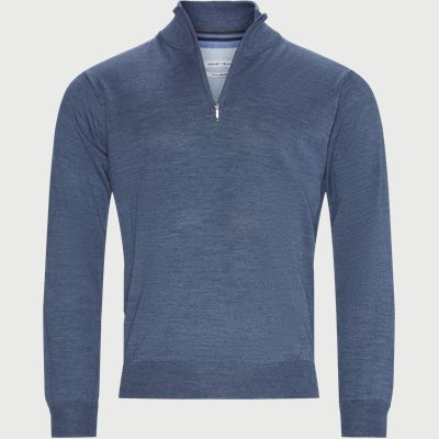 Panerea Half-Zip Striktrøje Regular | Panerea Half-Zip Striktrøje | Denim
